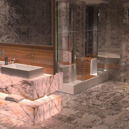 מקלחת מעוצבת משיש גרניט